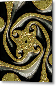Golden And Black Decorative Fractal - Metal Print