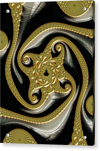 Golden And Black Decorative Fractal - Acrylic Print