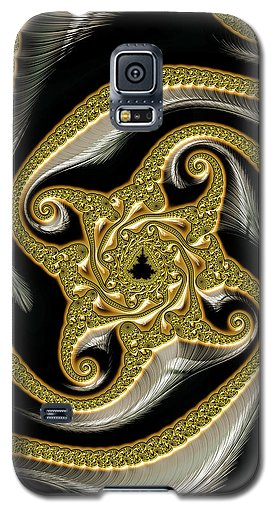 Golden And Black Decorative Fractal - Phone Case