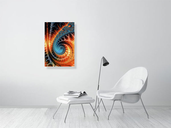 Fractal Spiral orange and aqua - Limited Edition