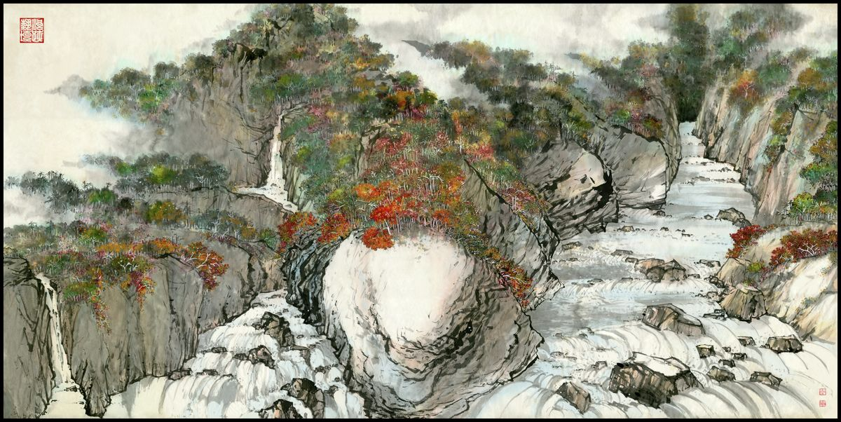 Landscape 96 Chinese Brush and Ink Painting by River Han