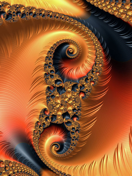 Fractal Spirals orange and black