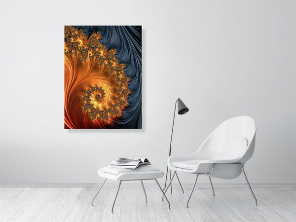 Fascinating Fractal Spiral orange coral black