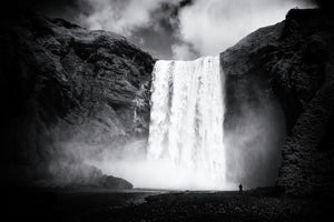 Skogafoss Iceland black and white