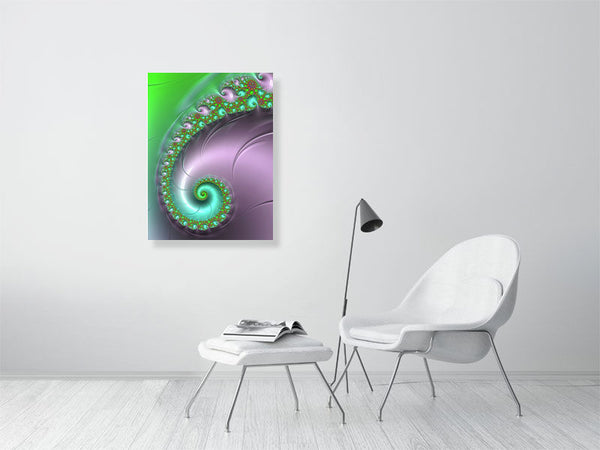 Fractal Spiral green and plum tones