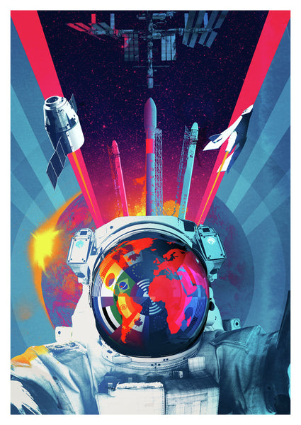 Final Frontier Space Age Illustration by Andy Potts - Art Print