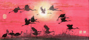 Cranes and Sunset Chinese Brush Painting by River Han