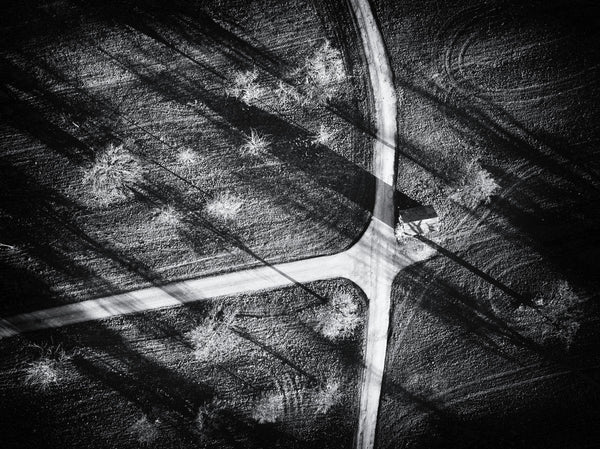 Crossroad Black and White Aerial Photo by Matthias Hauser