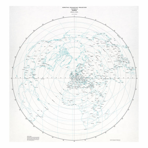 Paris - Azimuthal equidistant projection