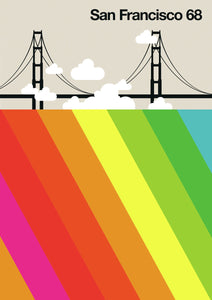 San Francisco 68 colorful Graphic Design by Bo Lundberg
