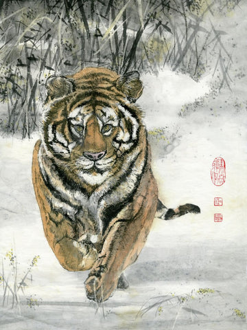 Tiger running in Snow - Art by River Han