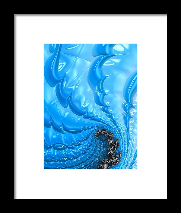 Abstract Blue Winter Fractal - Framed Print