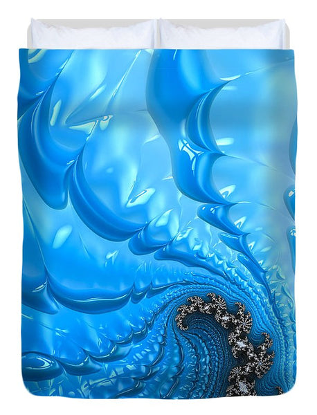 Abstract Blue Winter Fractal - Duvet Cover