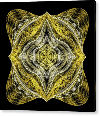 Abstract Fractal Art Goldenrod Gray Black - Acrylic Print