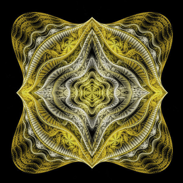 Abstract Fractal Art Goldenrod Gray Black - Art Print