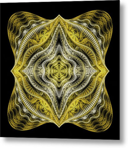 Abstract Fractal Art Goldenrod Gray Black - Metal Print