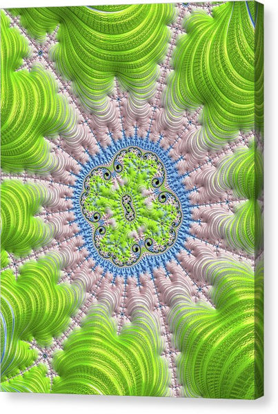 Abstract Fractal Art Greenery Rose Quartz Serenity - Canvas Print