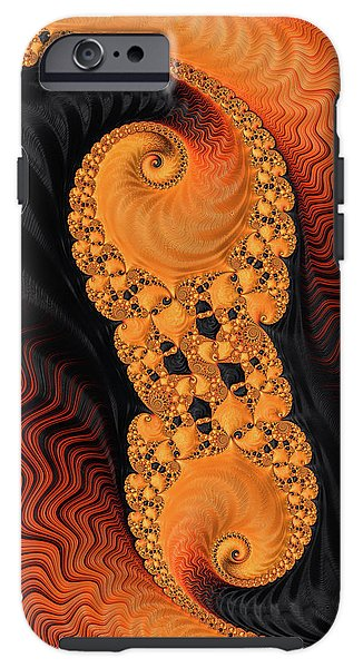 Abstract Fractal Art Orange Red And Black - Phone Case