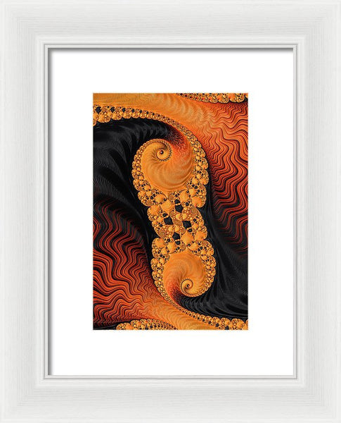 Abstract Fractal Art Orange Red And Black - Framed Print