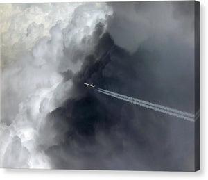 Airplane Flying Above Dark Clouds - Canvas Print