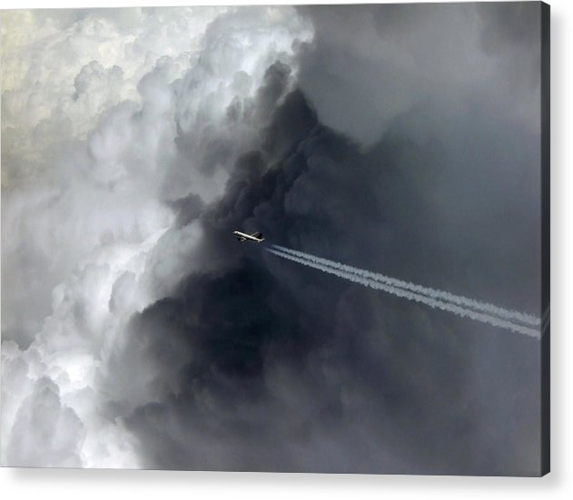 Airplane Flying Above Dark Clouds - Acrylic Print