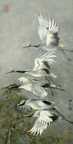 Cranes in Flight Painting by River Han