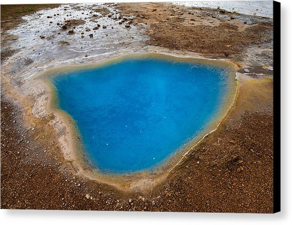 Beautiful Blue Hot Spring Blesi In Iceland - Canvas Print
