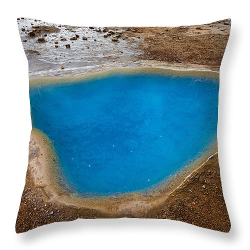 Beautiful Blue Hot Spring Blesi In Iceland - Throw Pillow