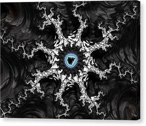 Beautiful Fractal Artwork Black White And Blue - Canvas Print