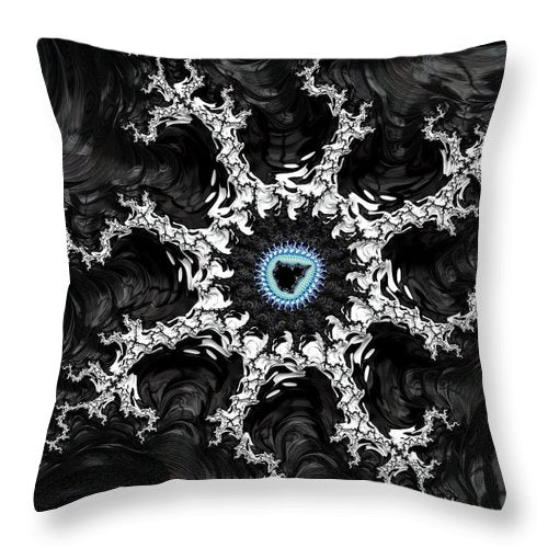 Beautiful Fractal Artwork Black White And Blue - Throw Pillow