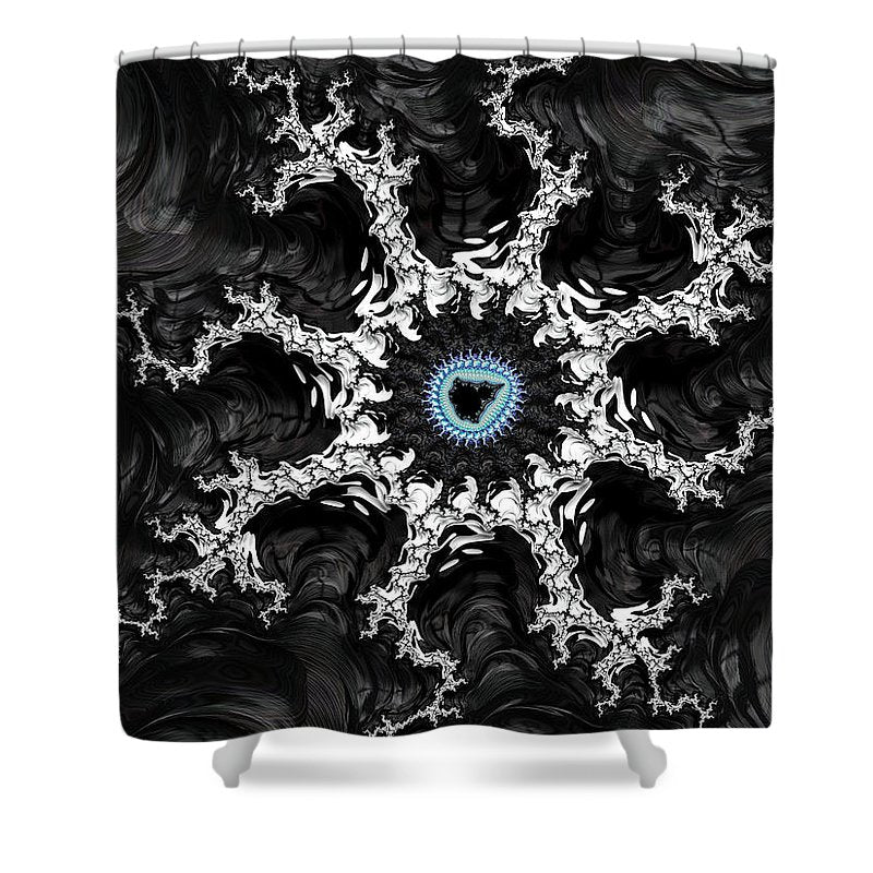 Beautiful Fractal Artwork Black White And Blue - Shower Curtain