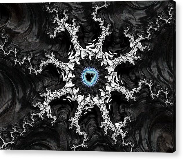 Beautiful Fractal Artwork Black White And Blue - Acrylic Print
