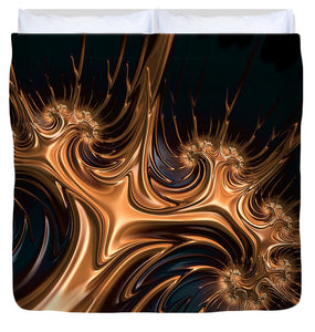 Beautiful Golden Fractal Artwork - Duvet Cover