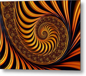 Beautiful Golden Fractal Spiral Artwork  - Metal Print