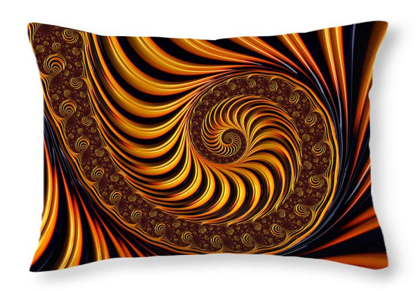 Beautiful Golden Fractal Spiral Artwork  - Throw Pillow