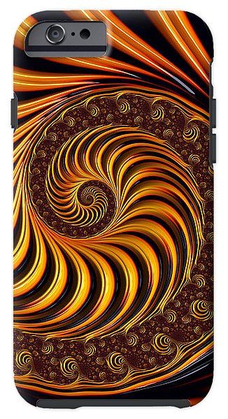 Beautiful Golden Fractal Spiral Artwork  - Phone Case