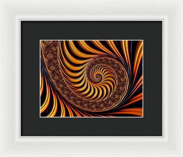 Beautiful Golden Fractal Spiral Artwork  - Framed Print