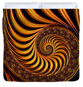 Beautiful Golden Fractal Spiral Artwork  - Duvet Cover