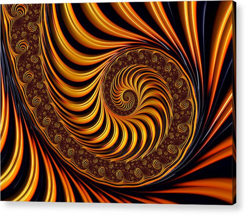 Beautiful Golden Fractal Spiral Artwork  - Acrylic Print