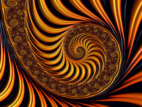 Beautiful Golden Fractal Spiral Artwork  - Art Print