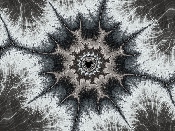 Beautiful Grey Silver And Beige Fractal - Art Print
