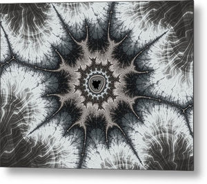 Beautiful Grey Silver And Beige Fractal - Metal Print