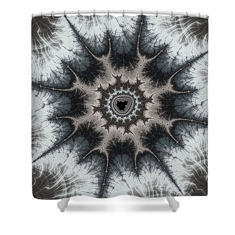 Beautiful Grey Silver And Beige Fractal - Shower Curtain