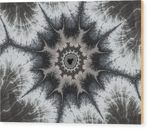 Beautiful Grey Silver And Beige Fractal - Wood Print
