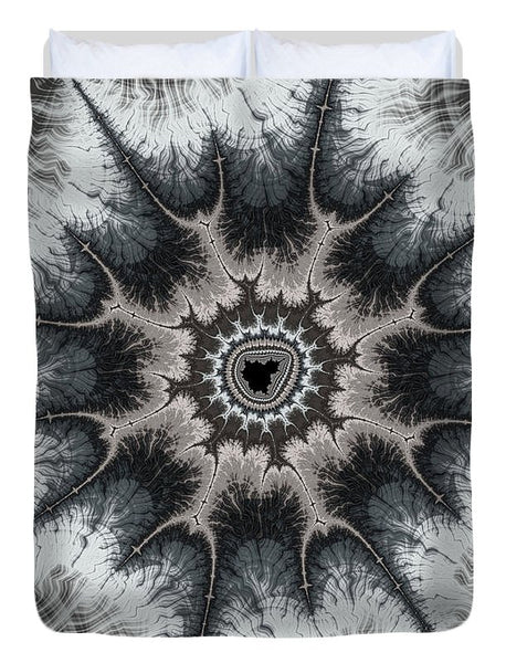 Beautiful Grey Silver And Beige Fractal - Duvet Cover