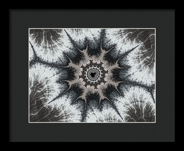 Beautiful Grey Silver And Beige Fractal - Framed Print