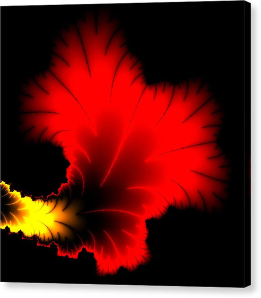 Beautiful Red And Yellow Floral Fractal Artwork Square Format - Canvas Print