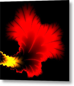 Beautiful Red And Yellow Floral Fractal Artwork Square Format - Metal Print