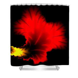 Beautiful Red And Yellow Floral Fractal Artwork Square Format - Shower Curtain