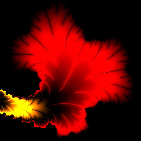 Beautiful Red And Yellow Floral Fractal Artwork Square Format - Art Print